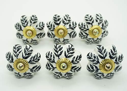 Black Ceramic Lever - Set of 6 Black & White Hand-Painted Ceramic Door Knobs with Leaf Motifs
