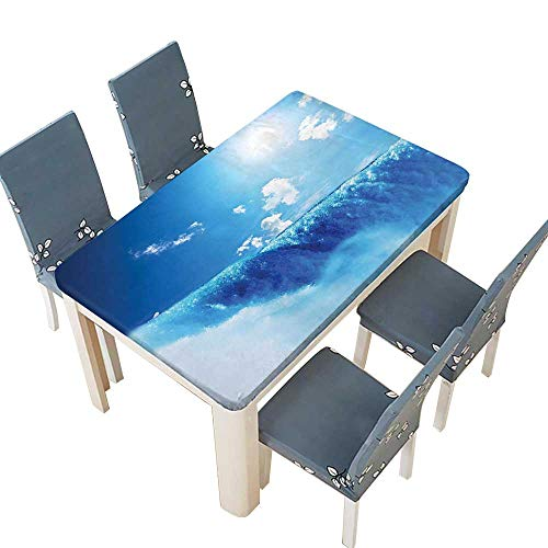 (PINAFORE Decorative Tablecloth Decor Niagara Falls and Bright Sky Landscape Image Majestic River Nature Theme Art Table Cover for Dining Room and Party W45 x L84.5 INCH (Elastic)