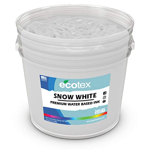 Ecotex Snow White Water Based Ink for Screen Printing - Non Phthalate Formula for Fabric/Textiles - PINT-16 oz.