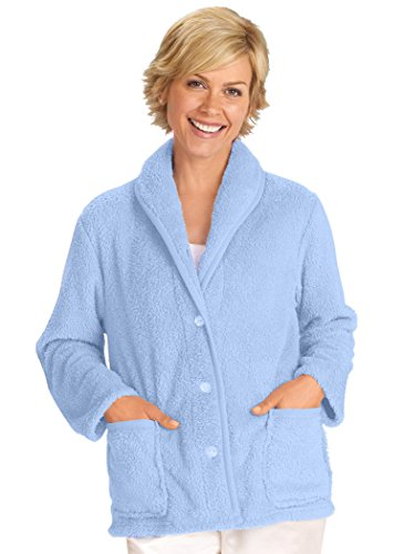 Fleece Button (AmeriMark Women's Fleece Bed Jacket 1 X-Large/Blue)