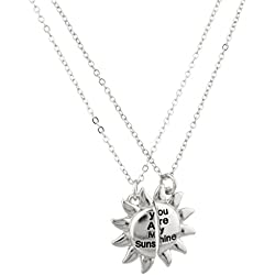 Lux You Are My Sunshine Broken Sun BFF Best Friends Forever Necklace Set (2 PC).