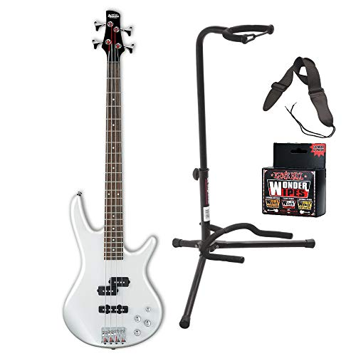 - Ibanez GSR200 GIO Electric Bass Guitar (Pearl White) Bundle Includes Guitar Stand, Guitar Strap and Wonder Wipes