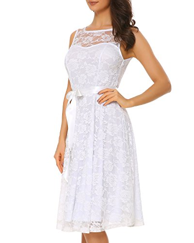 3159d075cbc Mixfeer Women s Floral Lace Sleeveless Bridesmaid Dress Sheer Neckline  A-line Swing Party Dress
