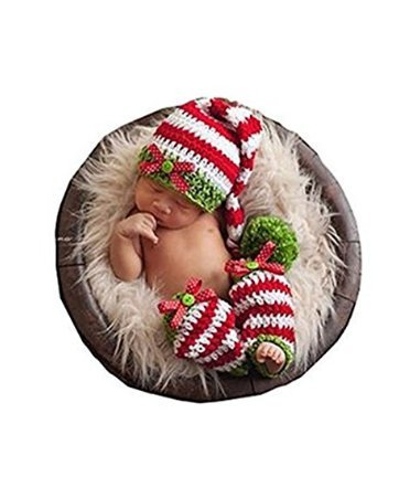 Eyourhappy Baby Newborn Handmade Crochet Knitted Photography Props Stripe Hat Pants Christmas Outfit