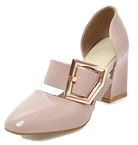 Easemax Womens Elegant Burnished Buckle Strap Square Toe Low Top Mid Chunky Heel Sandals Pink xDHGQ88G