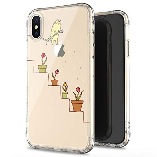 JAHOLAN Amusing Whimsical Design Yellow Cat Watering Flowers Clear Bumper TPU Soft Case Rubber Silicone Cover Phone Case for iPhone X (2017) / iPhone Xs (2018)