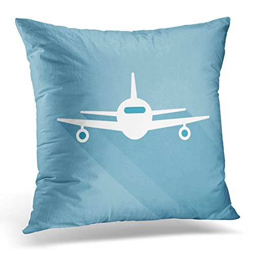 Duplins Throw Pillow Case Square Home Decor Pillowcase Plane Flat Long Shadow Airplane Front View Flying Aircraft Airline Decorative Pillow Cover 18x18 Inches