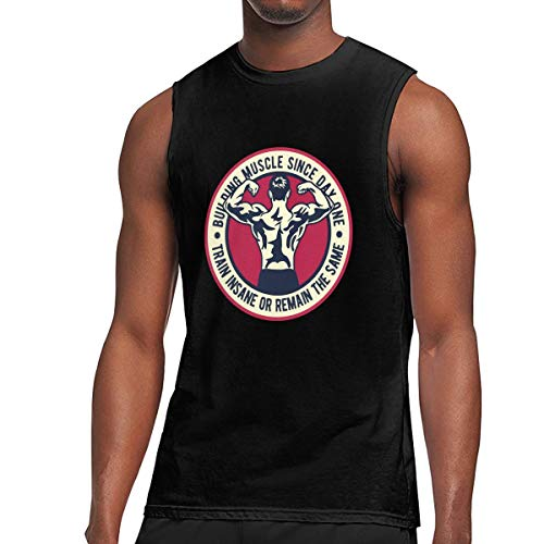 Q81CHO@ Mens Muscle Building Muscle Sleeveless Shirt, Essential Vest for Sports Fitness Black