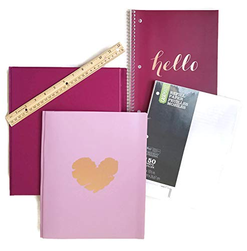 Back to School Supplies Bundle for Teen Girls Includes Binder, Notebook, Pocket Folder, Wooden Ruler, and Binder Filler Paper, Bundle of 5 by Unknown