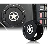 Gas Cap Black Five Star Gas Tank Cover Fuel Filler Door Cover for 2007-2018 Jeep Wrangler JK & Unlimited