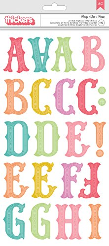 American Crafts Pink Paislee Birthday Bash Jumbo Alpha Chipboard Thickers Party 5 Sheets 110 Piece