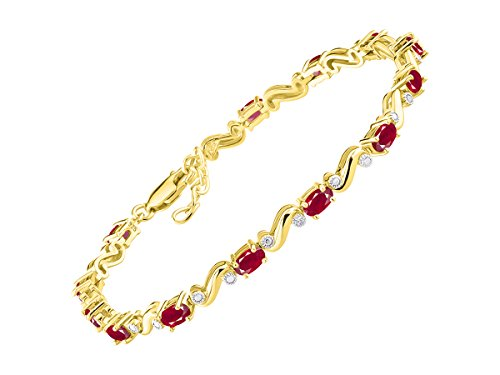 Stunning Ruby & Diamond S Tennis Bracelet Set in Yellow Gold Plated Silver - Adjustable to fit 7