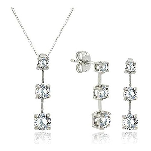 Sterling Silver Past Present Future Cubic Zirconia Pendant & Earrings Set