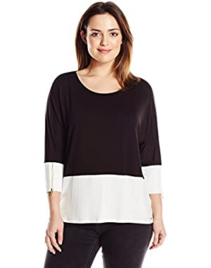 Calvin Klein Women's Plus-Size Color-Blocked Dolman Top