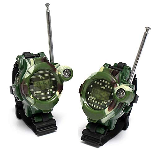 TelDen Walkie Talkie, 7 in 1 Watch Compass Wireless for Children Kids Gift 150 Meters Long Range to Play Family Friends Field Survival Camping Biking Hiking. (Camouflage, 2pcs)