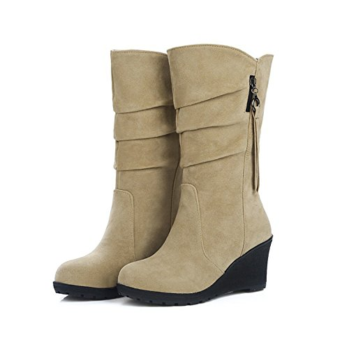 Eastlion Women's Autumn and Winter Outdoor Keep Warm Fleece Lined Wearable Snow Boots Wedges Shoes Khaki 7cKV7S4