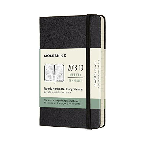 Moleskine 2018-19 18M Weekly Horizontal Planner, Pocket, Black, Hard Cover (3.5 x 5)