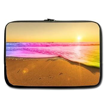 Barato y agradable 15,6 pulgadas portátil funda puesta de sol playa rosa amarillo olas (doble cara, sin correas): Amazon.es: Electrónica