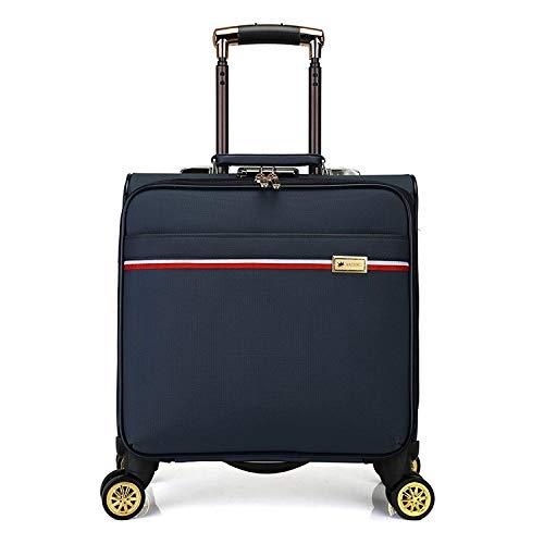 16インチPU搭乗トロリーケースUスーツケース  ブルー B07PSF5S1B