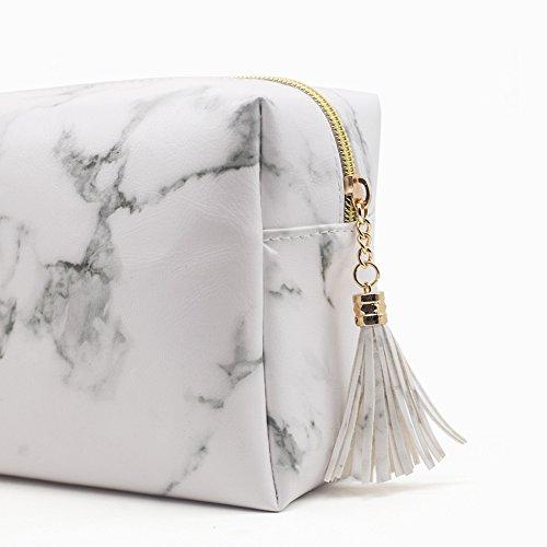 Joyful High Capacity Marble Pattern Cosmetic Bag Makeup Brushes Kit Bag Handbag Toiletry Case Gold Zipper Bag With Beauty Tassels (Large:7.1 x 5.1 x 2.7 inch)