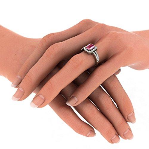 14K Or blanc, 0,34carat Diamant Taille ronde (IJ | SI) Tourmaline Rose et diamant Bague