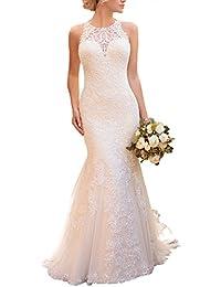 KISSBRIDAL Women's Halter Mermaid Lace Applique Wedding Dresses For Bride