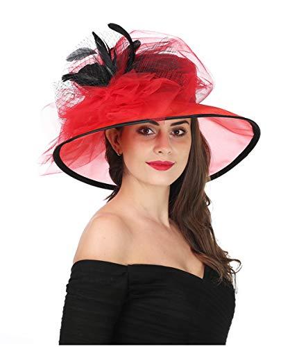 SAFERIN Women's Organza Church Kentucky Derby Fascinator Bridal Tea Party Wedding Hat (3120-Black -