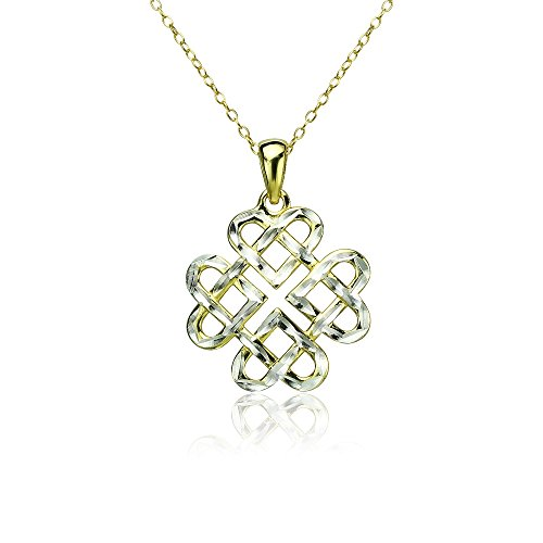 Yellow Gold Flashed Sterling Silver Two-Tone Diamond-cut Filigree Cross Pendant Necklace