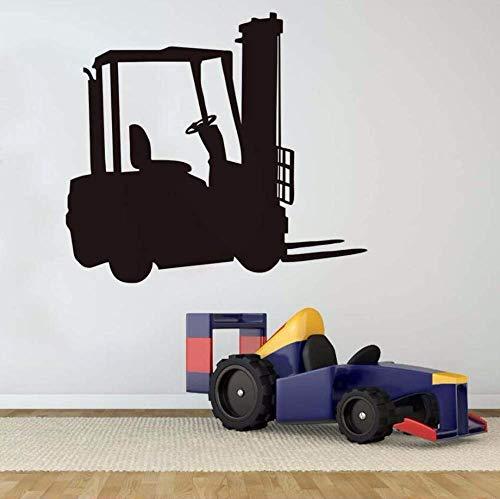 JQSM Wall Decal Personality Bedroom Headboard Black Forklift Truck Vinyl Wall Art Room Sticker Decal Car Decal Interior Wall Decoration Art65Cm X 58Cm