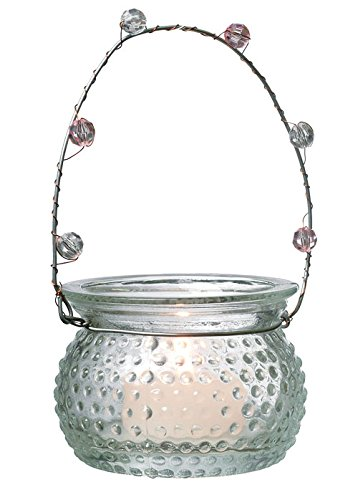 Luna Bazaar Hanging Candle Holder and Vase (2.25-Inch, Rowenna Hobnail, Clear) - For Use with Tea Lights - For Home Decor, Parties, and Wedding Decorations