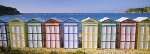 Beach huts in a row on the beach Catalonia Spain Poster Print (18 x - Beach Europe Huts