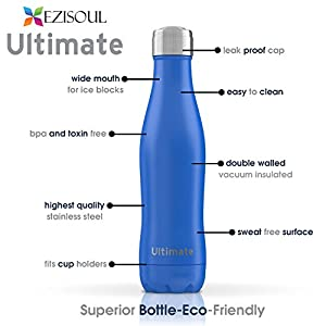 Ezisoul Ultimate Kids Vacuum Insulated Stainless Steel Water Bottle-Leak Proof and Sweat Free, No BPA or Toxins-13oz- KEEP THEM HYDRATED.