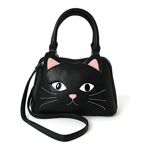 Black Cat Face Satchel Handbag