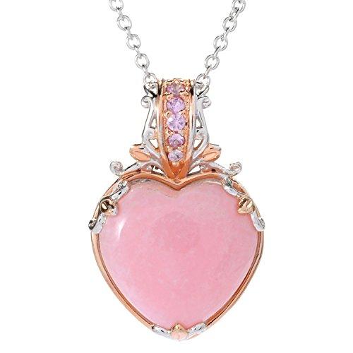 Michael Valitutti Palladium Silver Pink Peruvian Opal & Pink Sapphire Heart ()