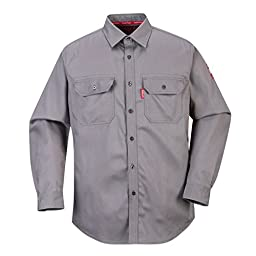 Portwest FR89 Bizflame 88/12 Flame Resistant Safety Shirt (L, Gray)