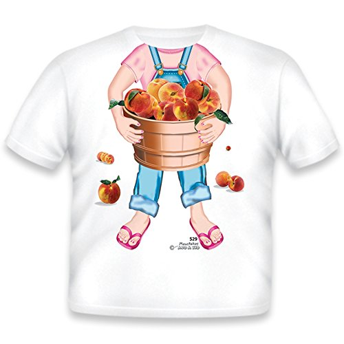 Just Add A Kid Little Girls' Peaches Girl T-Shirt 4T White