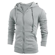 FUNOC Mens Long Sleeve Slim Fit Hoodie Front Zip with Pocket Outwear Jacket