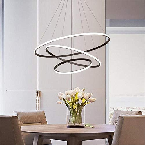 LED Pendant Light,Dining Table LED3 Ring dimmable Remote Control Pendant lamp, Living Room Ceiling lamp, Bedroom, Height-Adjustable Pendant lamp