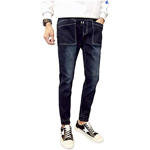 4fd89385721b64 hot sale Vazpue Pants Mens Fashion Slimming Jeans Pants Ankle-length  Drawstring Ankle Tied Jeans
