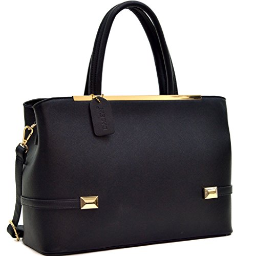 dasein-gold-tone-frame-faux-leather-tote-with-shoulder-strap-black