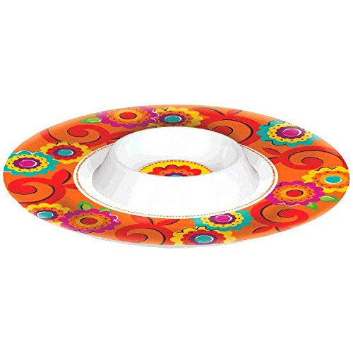 Amscan Fiesta Caliente Cinco de Mayo Party Round Melamine Chip & Dip Bowl, 1 Piece, Made from Plastic, Multicolor, 13