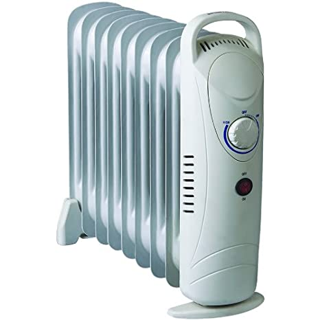 5fa2f8fd92d 1000W Oil Filled Electric Portable Radiator Compact Mini 9 Fin Thermostat  Heater  Amazon.co.uk  Kitchen   Home