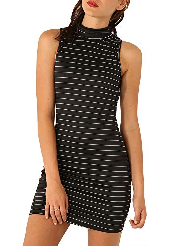 (Striped Dresses for Women Turtleneck Sleeveless Bodycon Stretch Fit Mini Dress (S, Black))