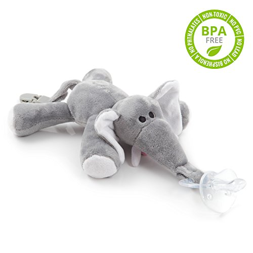 BabyHuggle Elephant Pacifier - 4 in 1 Animal Stuffed Binky, Soft Plush Toy with Detachable Silicone Baby Paci, Dummy Clip & Squeaky Sound. Teether Holder. 100% Safe & Soothing. Ideal Baby Shower Gift