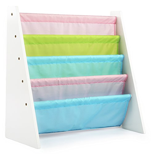 Tot Tutors Kids Book Rack Storage Bookshelf, White/Pastel (Pastel Collection) ()