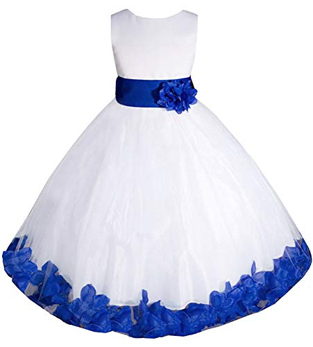 AMJ Dresses Inc Big-Girls' White/Royal Blue Flower Girl Dress E1008 Sz -