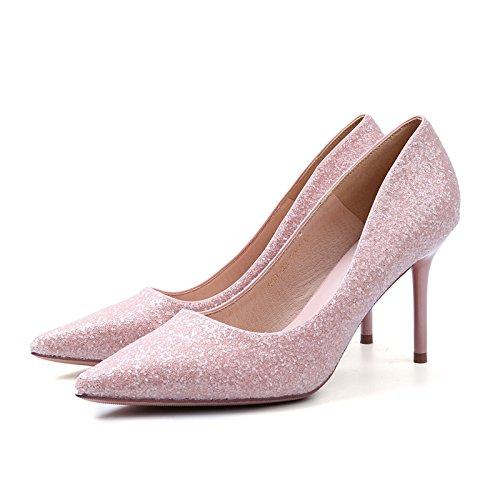 YMFIE Maraña superficial tacón delgado sexy señoras zapata única cara mate' moda zapatos para banquetes.34 UE,Rosa 34 EU
