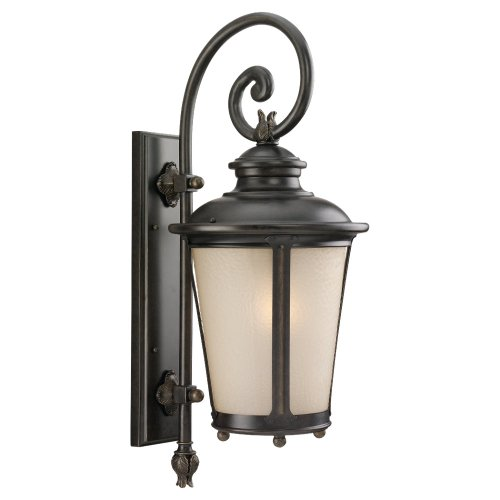 Sea Gull Lighting 88242-780 Outdoor Sconce with Etched Hammered with Light Amber Glass Shades, Burled Iron Finish