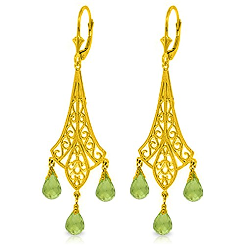 4.5 CTW 14k Solid Gold Chandelier Earrings with Natural Briolette-shaped Peridots