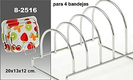 DonRegaloWeb - Soporte para bandejas de metal cromado para 4 bandejas